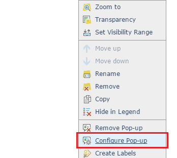 The Configure Pop-up option