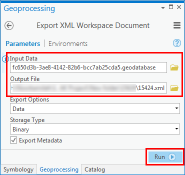 An image of the Export XML Workspace Document dialog box.
