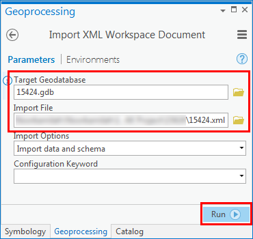An image of the Import XML Workspace Document dialog box.