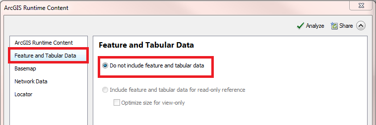 This image shows the Feature and Tabular Data option in the ArcGIS Runtime window