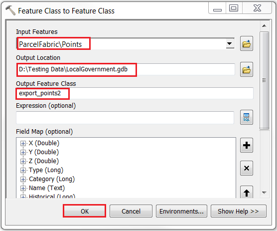 An image of the Feature Class to Feature Class tool dialog box.