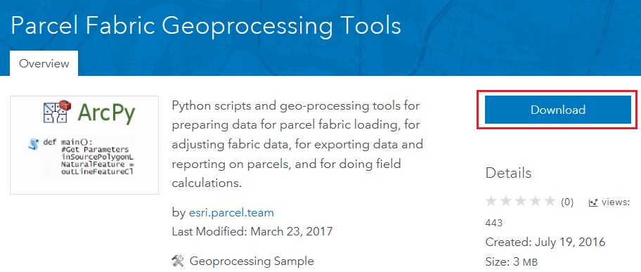 An image of the Parcel Fabric Geoprocessing Tools download page.