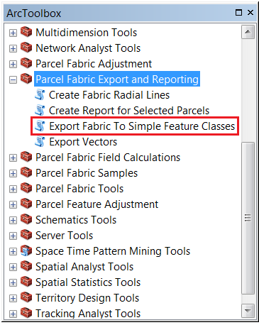 An image showing the Export Fabric To Simple Feature Classes tool in the ArcToolbox.