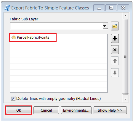 An image of the Export Fabric To Simple Feature Classes tool dialog.
