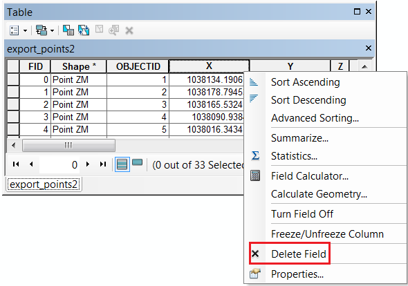 An image showing the Delete Field option is enabled for a a field.