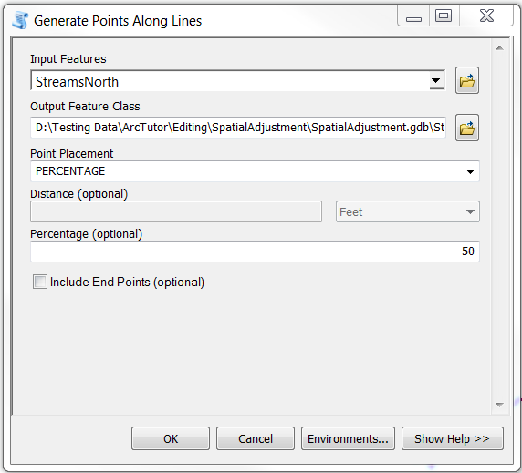 The Generate Points Along Lines dialog box.