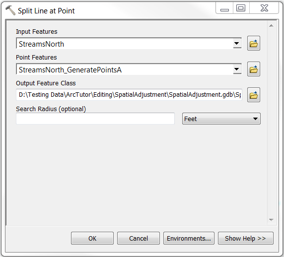 The Split Line at Point dialog box