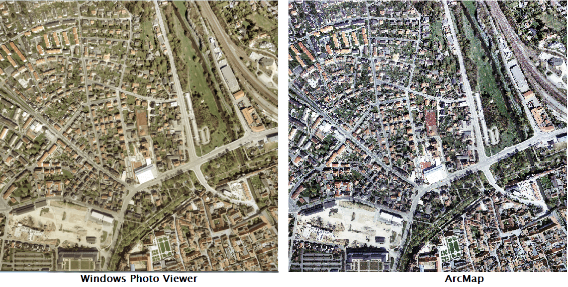 Comparison between the raster image viewed in Windows Photo Viewer and ArcMap.