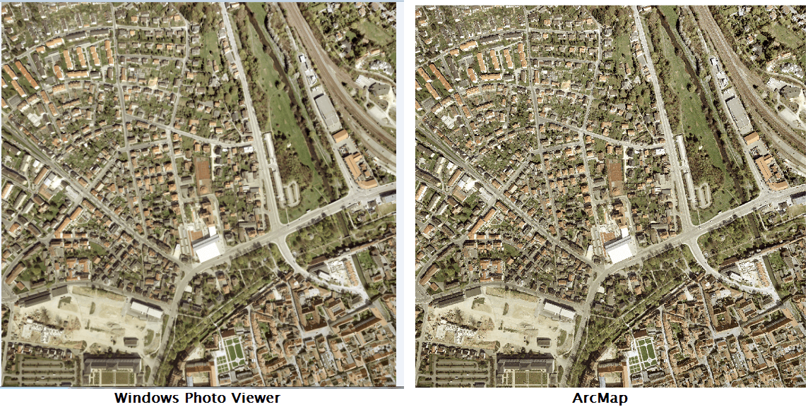 An image showing the raster image in ArcMap matches Windows Photo Viewer.