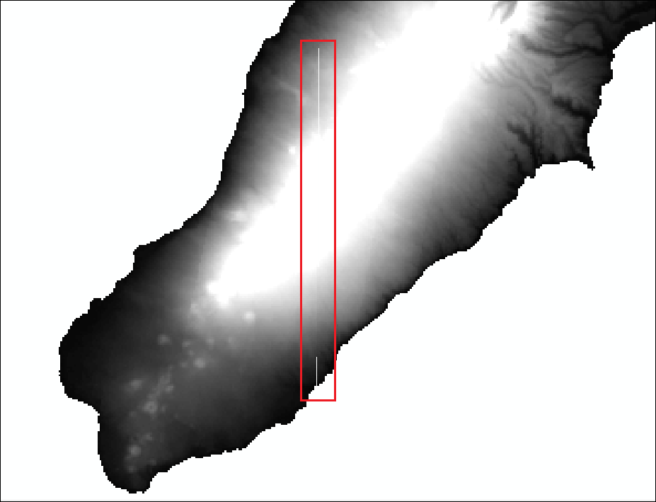 An image of a merged raster with the International Date Line splitting the raster