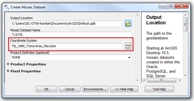 An image of the Create Mosaic Dataset dialog box.