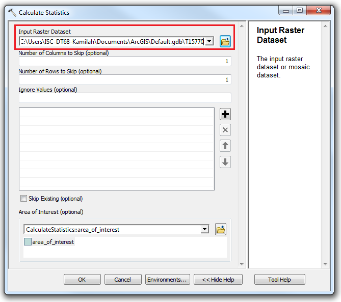 An image of the Calculate Statistics dialog box.