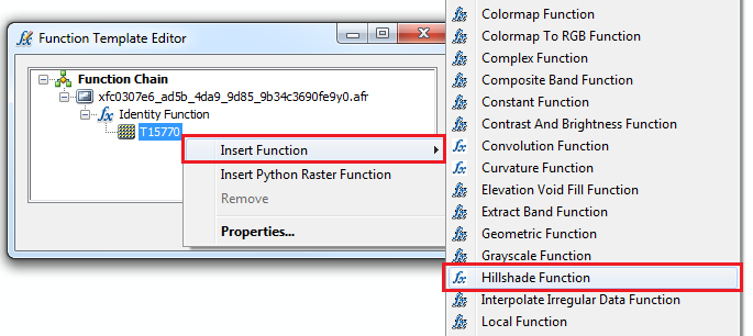 An image of the Function Template Editor dialog box and the Hillshade Function option.