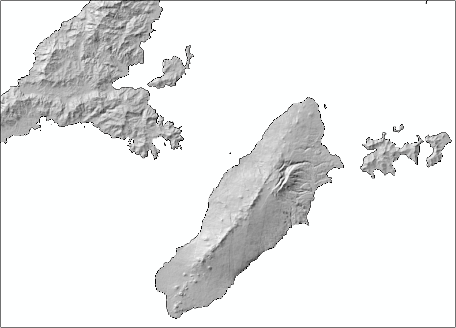 An image of the hillshaded raster dataset.