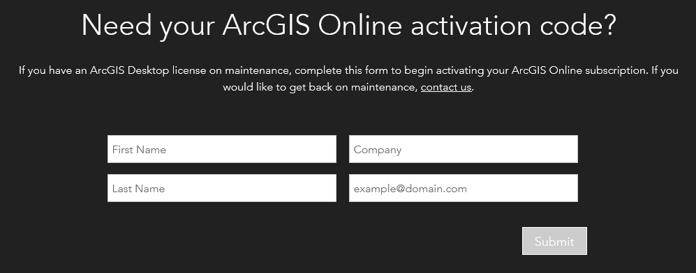 Need your ArcGIS Online activation code?