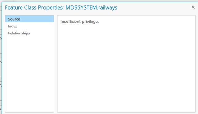Image of the Insufficient Privilege error in ArcGIS Pro.