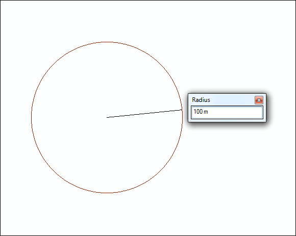 An image of the step to create a circle by entering the radius value and its unit abbreviation.