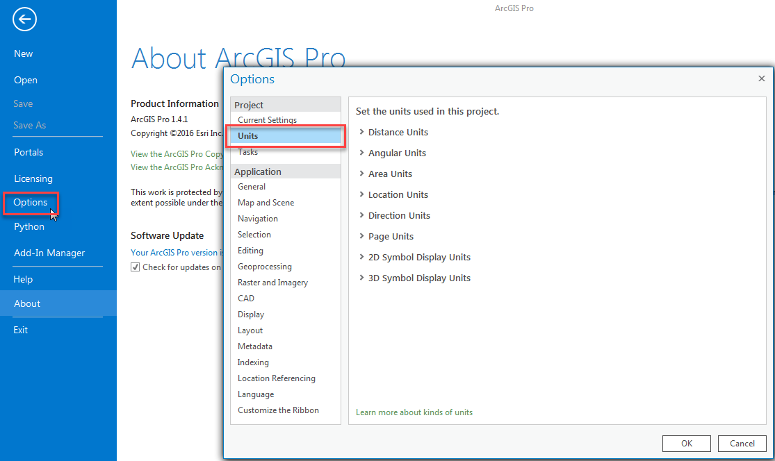 An image of the Options menu in the Project tab.