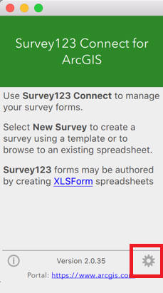 A view of the Survey123 Connect for ArcGIS app, with the Settings button highlighted.