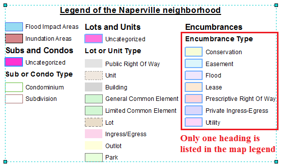 This is the map legend containing only the selected heading.
