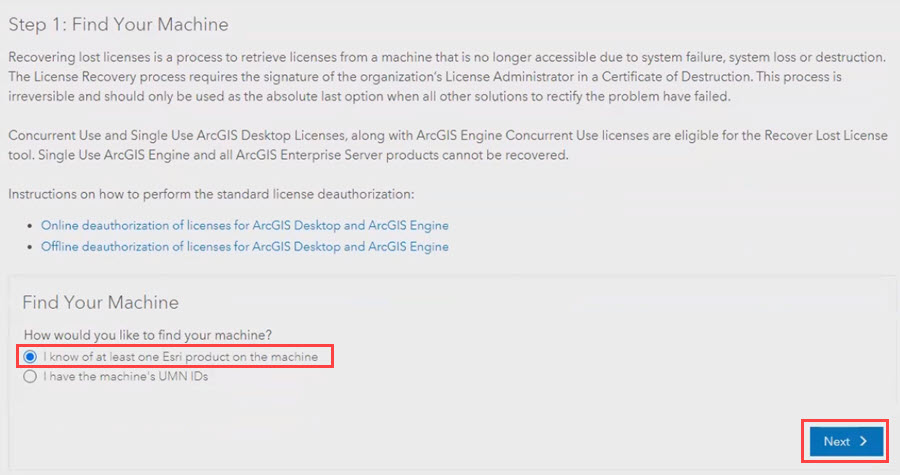 Select the 'I know of at least one Esri product on the machine' radio button to recover licenses based on the ArcGIS product used on the non-accessible machine.