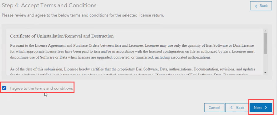 Click the 'I agree to the terms and conditions' checkbox and click Next to finalize the license recovery process.