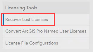 Click Recover Lost Licenses to begin the process for recovering licenses from a non-accessible machine.