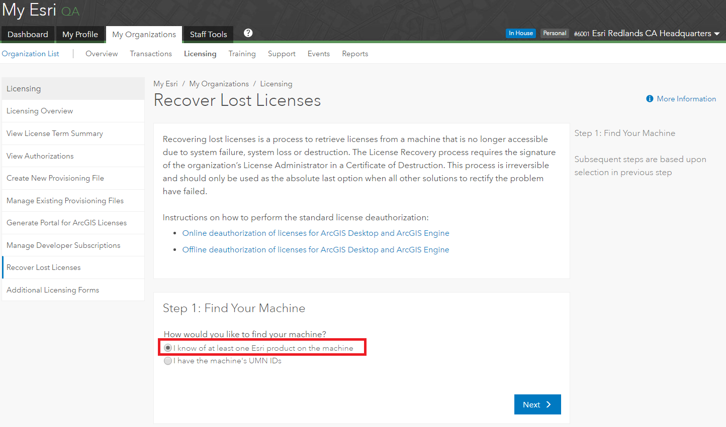 Image of the Recover Lost Licenses page