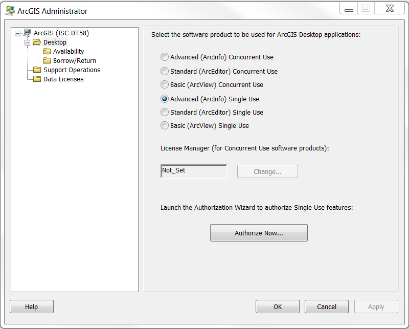 An image of selecting the software product in ArcGIS Administrator.