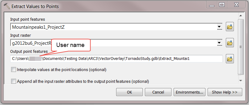 Extract Values to Points tool window