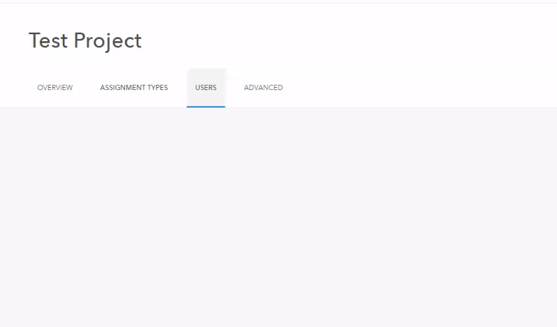 Screenshot of the blank Users tab in Workforce for ArcGIS.