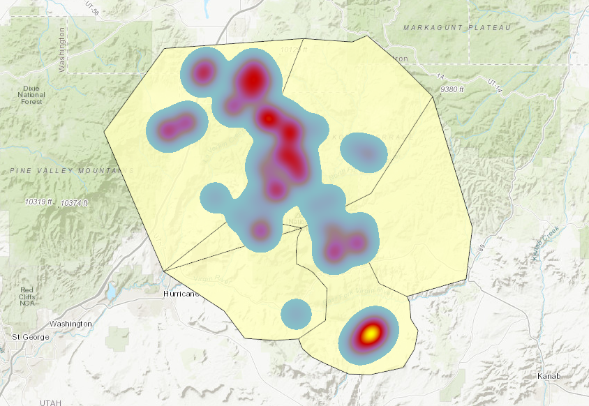 An example of a heat map on top of a tile layer in an ArcGIS Online map viewer.