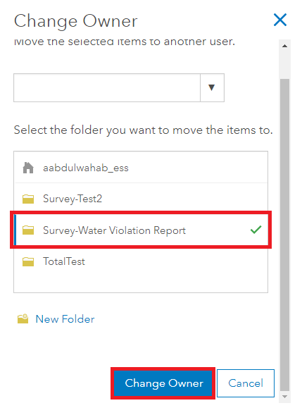 Change Owner dialog box with the new folder and Change Owner highlighted