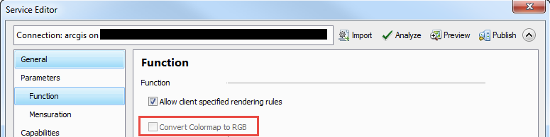 Uncheck Convert Colormap to RGB