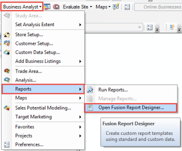 The picture shows the business analyst drop-down menu