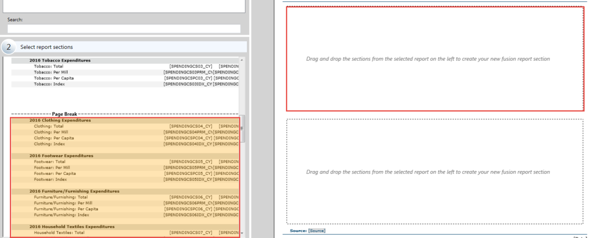 The picture shows the dragging of a certain sections of report to be added in the custom template