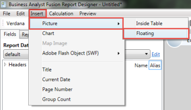 The picture shows how to insert a new image to the report
