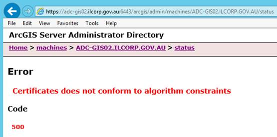 The image of the error message in ArcGIS Server Administrator Directory.