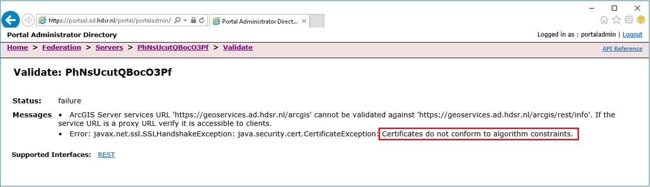 The image of the error message in Portal for ArcGIS Administrator Directory.