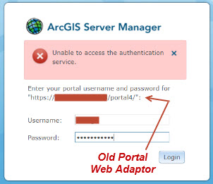 Image of the error message when accessing ArcGIS Server Manager