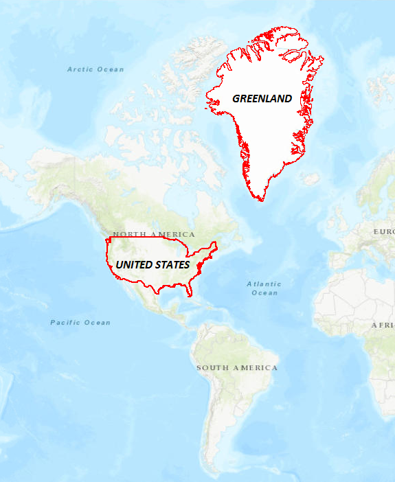 Image of a comparison between the area of Greenland and the United States in a WGS 1984 Web Mercator (Auxiliary Sphere) projection. Greenland appears larger than the United States on the map even though the exact area of Greenland is smaller than the United States.