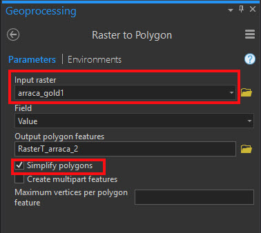 Input for the Raster to Polygon tool