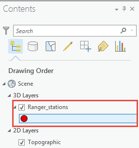 The picture shows the location of the point symbol in the 3D Layers group