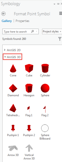 The picture shows the ArcGIS 3D drop-down arrow