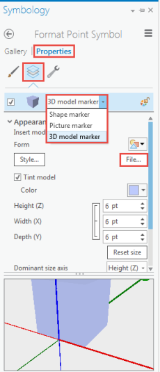 The picture shows the Properties tab, Layer tab and File option