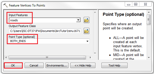 An image showing the Feature Vertices To Points geoprocessing tool dialog.