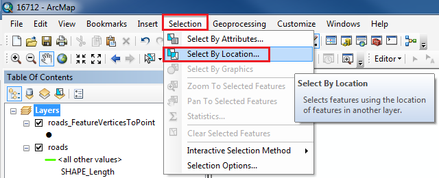 An image of the Select By Location tool in the Selection menu.