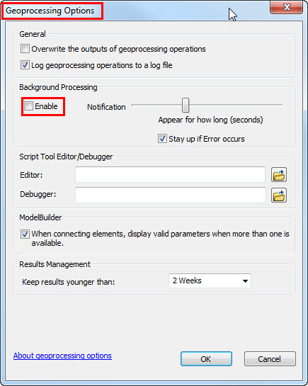 An image of the Geoprocessing Options dialog box.