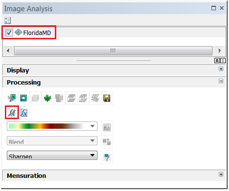 An image of enabling and selecting the raser layer in the Image Analysis window.