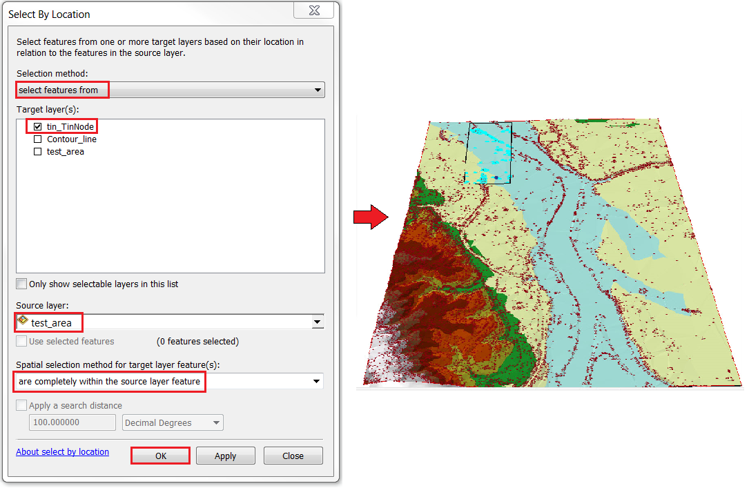 An image of selecting the nodes within the polygon area using the Select by Location option.